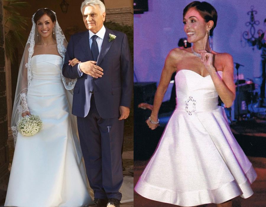 I due abiti da sposa del ministro Mara Carfagna per il suo matrimonio con Marco Mezzaroma